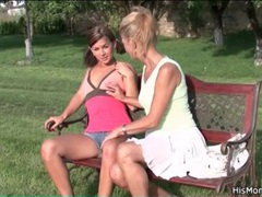 Milf rubs smooth teen pussy on park bench movies at find-best-videos.com