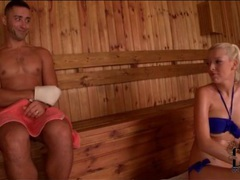 Bikini blonde sucks his dick in sauna videos