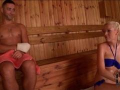 Bikini blonde sucks his dick in sauna movies at kilogirls.com
