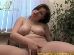 Chubby babe dances and masturbates in nylon videos
