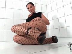 Little black dress and sexy fishnet pantyhose movies at find-best-videos.com
