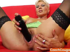 Dazzling mommy chick ellen fucks her cunt with a black dildo videos
