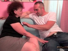 Old lady wraps her lips around his hard dick videos