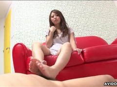 Footjob and sucking makes him cum for her movies