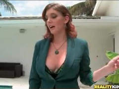 Pool boy sucks big tits of milf redhead movies at lingerie-mania.com