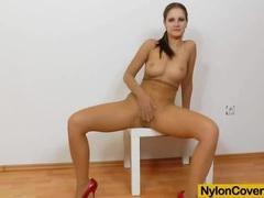 Brunette rides dildo in panty-hose movies at find-best-lingerie.com