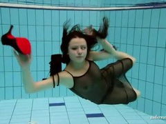 Brunette jumps in the pool fully dressed videos