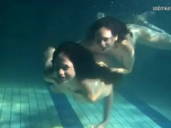 Underwater workout and fun with two beauties movies at find-best-tits.com