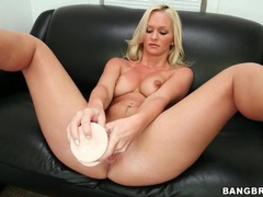 Gorgeous blonde emily austin strips and toys videos