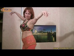 Busty drunk girl in bra does belly dance videos