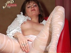 Ruffled blouse and sheer pantyhose on babe videos