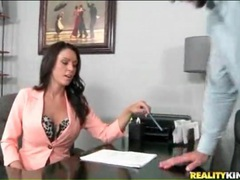 Bossy milf sits on desk for pussy licking videos