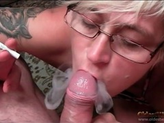 Smoking babe gives blowjob to uncut cock movies at lingerie-mania.com