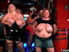 Dancing fat chicks make skinny guy strip for them movies at lingerie-mania.com