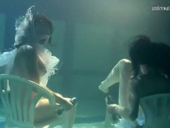 Pretty girls hold weights to stay underwater movies