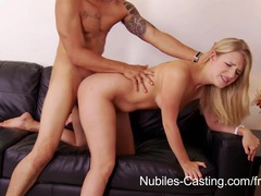 Nubiles casting - cum drips from her tongue onto her tits videos