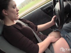 Sexy lou driving and rubbing her wet pussy movies at find-best-mature.com