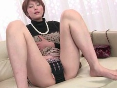 Classy japanese housewife fingers pussy tubes at lingerie-mania.com