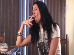 Smoking girl teases in sexy stockings movies at kilopills.com