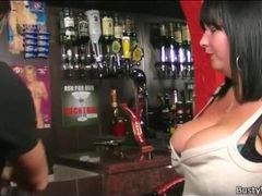 Seduction of a sexy fat girl in the bar movies at lingerie-mania.com