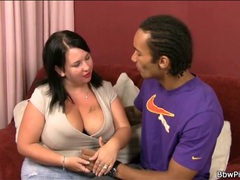 Fit black guy kisses sexy brunette bbw movies at lingerie-mania.com