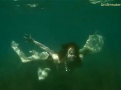 Young lady goes skinny dipping in the ocean movies at freekiloporn.com