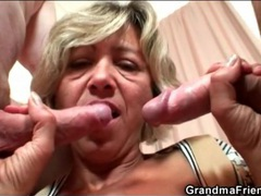 Old lady in bathrobe strokes younger cocks videos