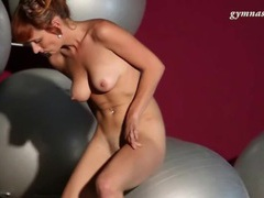 Fit body redhead bounces on exercise ball movies at kilopills.com
