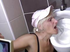 Perverted moms piss and take cocks in toilet movies at find-best-pussy.com