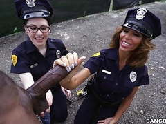 Lyla lali and norah gold take bbc on patrol car movies at find-best-mature.com
