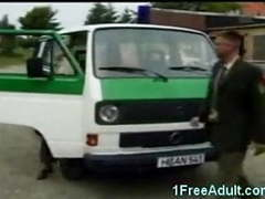 Horny german police fuck in their van videos