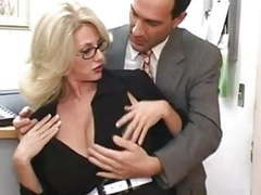 Mature secretary gets cum on her big tits tubes