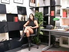 Milf office secretary in boots in solo dildo action tubes