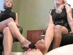 One guy worship the nylon feet of two secretarys videos