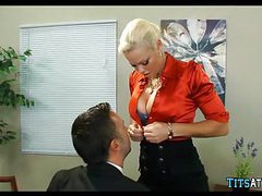 Blonde with huge tits at work tubes