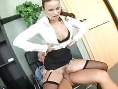 Nerdy secretary in lingerie fucking at the office movies at freekilomovies.com