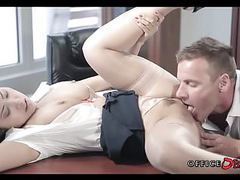 Fucking with asian coworker in his locked office tubes