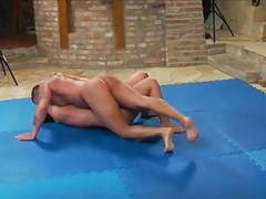 Hot muscle girl beats guy in wrestling then blows him movies