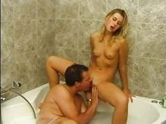 Mature fucks small tits blonde girl in jacuzzi tubes