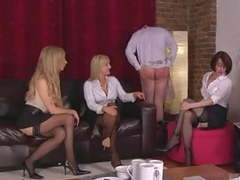 Three dommes in stockings humiliate guy movies at kilogirls.com