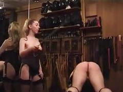 Domme in stockings spanks straps and canes movies at freekilomovies.com