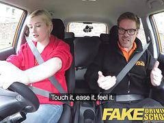 Fake driving school back seat pussy squirting and creampie videos