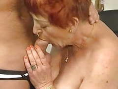 Deliciously hairy granny sucks and fucks tubes