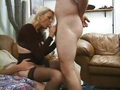 Stockings granny has two men tubes