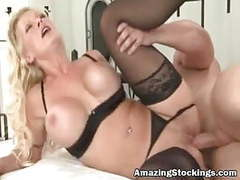 Hot blonde milf in black stockings sex movies at freekiloporn.com