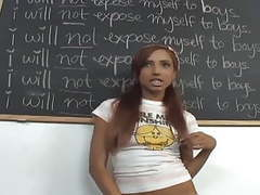 Pigtailed redhead in opaque stockings fucked on a desk movies at kilomatures.com