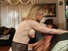 Blonde milf strips for young dude who sucks her hard nipples tubes