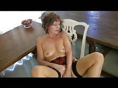 Mature milf  in seamed stockings strips and fingers movies