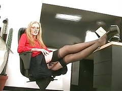 Skinny sexy blonde coworker strips and plays with a dildo at the office movies at find-best-hardcore.com