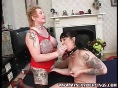 Pierced and tattooed milfs taking on two cocks movies